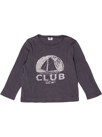 T-shirt manches longues garçon PETIT BATEAU gris 3 ans hiver #1267671_1