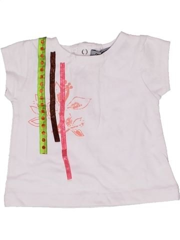 T-shirt manches courtes fille TAPE À L'OEIL blanc 1 mois été #1271128_1