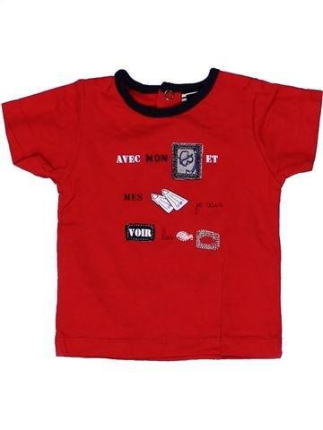 T-shirt manches courtes garçon ELLE EST OÙ LA MER rouge 3 mois été #1271232_1