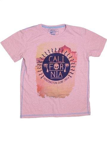 T-shirt manches courtes garçon DUDES rose 13 ans été #1303763_1