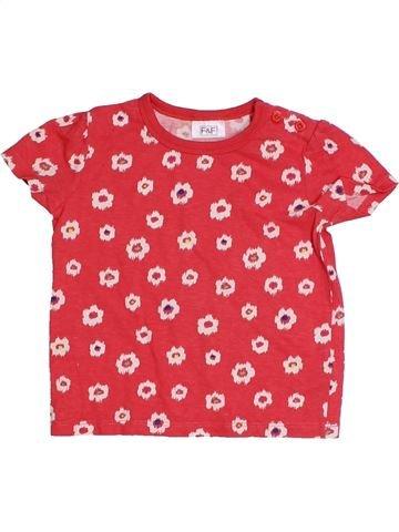 T-shirt manches courtes fille F&F rose 12 mois été #1305570_1
