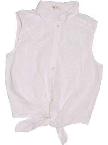 Blouse manches courtes fille H&M blanc 14 ans été #1305827_1