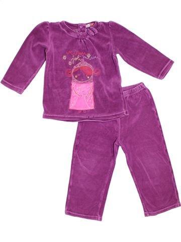Pijama de 2 piezas niña DPAM violeta 3 años invierno #1308501_1