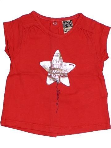 T-shirt manches courtes fille TAPE À L'OEIL rouge 3 mois été #1324137_1
