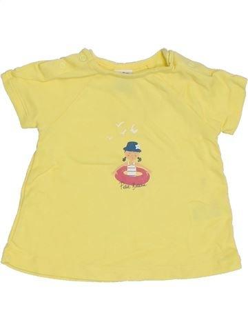 T-shirt manches courtes fille PETIT BATEAU jaune 12 mois été #1325086_1