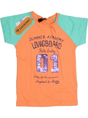 T-shirt manches courtes fille LONGBOARD orange 6 ans été #1352575_1