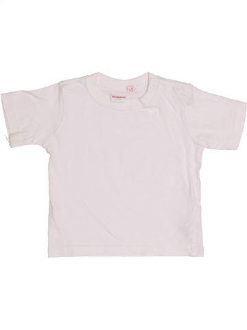 T-shirt manches courtes garçon BLUEZOO blanc 6 mois été #1367366_1