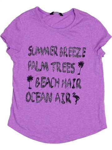 T-shirt manches courtes fille GEORGE violet 7 ans été #1370762_1