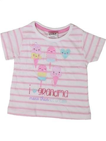 T-shirt manches courtes fille PEACOCK'S blanc 3 mois été #1374686_1
