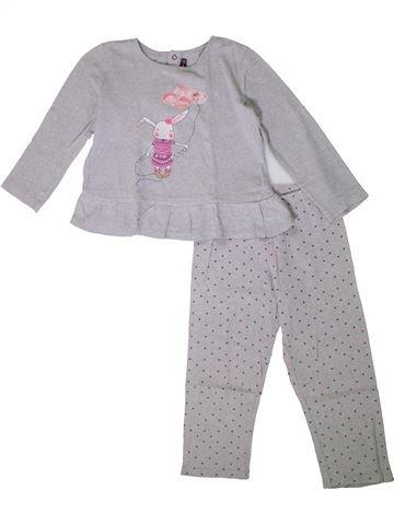 Pijama de 2 piezas niña SERGENT MAJOR gris 4 años invierno #1375250_1
