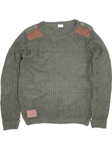 Pull garçon F&F gris 11 ans hiver #1395937_1