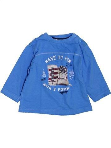 T-shirt manches longues garçon 3 POMMES bleu 6 mois hiver #1397604_1