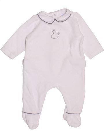 Pyjama 1 pièce unisexe BOUT'CHOU blanc 1 mois hiver #1400453_1