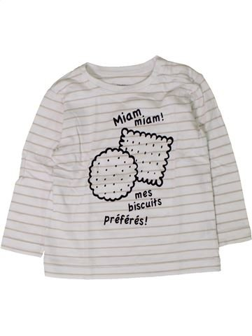 T-shirt manches longues garçon BOUT'CHOU blanc 18 mois hiver #1402044_1