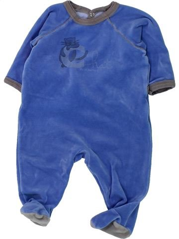 Pyjama 1 pièce garçon PETIT BATEAU bleu 3 mois hiver #1430819_1