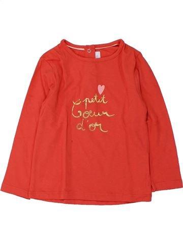 T-shirt manches longues fille CADET ROUSSELLE rouge 2 ans hiver #1432382_1