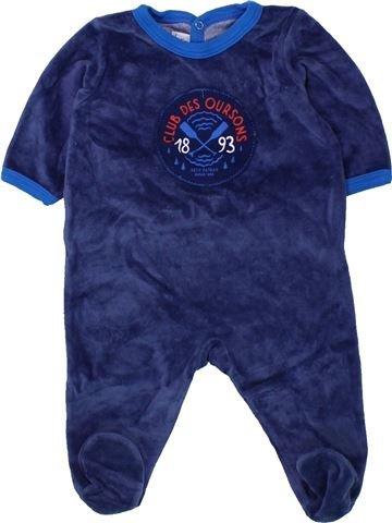 Pyjama 1 pièce garçon PETIT BATEAU bleu 3 mois hiver #1433798_1