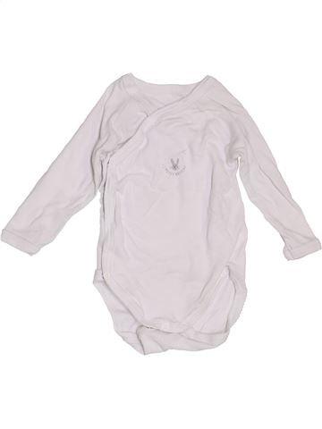 T-shirt manches longues unisexe PETIT BATEAU blanc 3 mois hiver #1442309_1