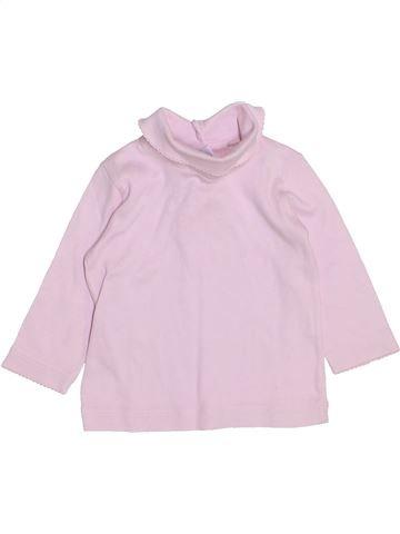 T-shirt col roulé fille PETIT BATEAU rose 6 mois hiver #1443694_1