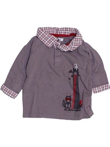 Polo manches longues garçon OKAIDI violet 6 mois hiver #1443710_1