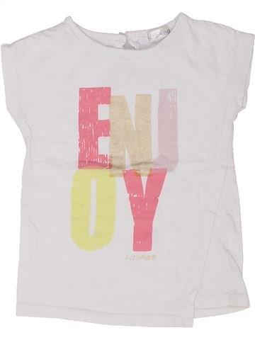T-shirt manches courtes fille KIMBALOO blanc 12 mois été #1448656_1