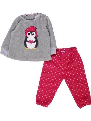 Pyjama 2 pièces fille PAT ET RIPATON violet 12 mois hiver #1449467_1