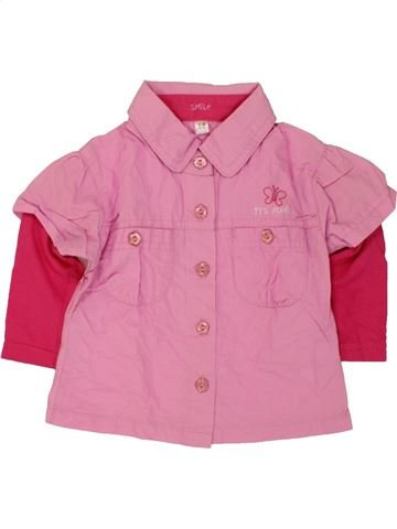 Blouse manches longues fille SMILE rose 6 mois hiver #1459942_1