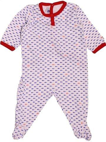 Pyjama 1 pièce garçon PETIT BATEAU blanc 1 mois été #1487880_1