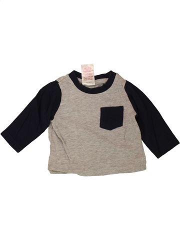 T-shirt manches longues garçon BABY gris 3 mois hiver #1489843_1