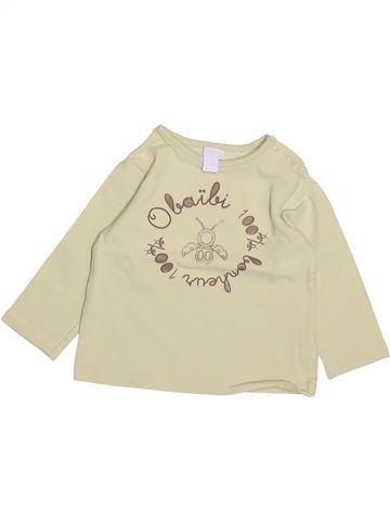 T-shirt manches longues fille OKAIDI beige 6 mois hiver #1492229_1