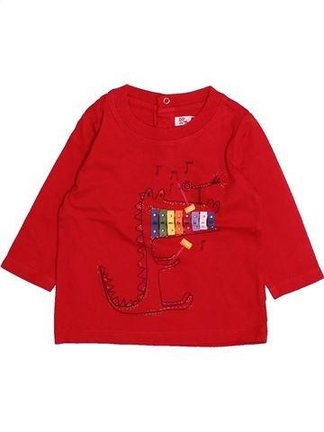 T-shirt manches longues garçon DPAM rouge 3 mois hiver #1494010_1