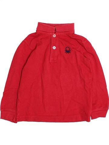 Polo manches longues garçon BENETTON rouge 2 ans hiver #1494746_1