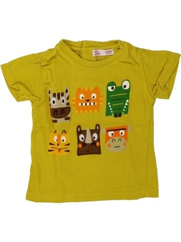 T-shirt manches courtes garçon DPAM jaune 3 mois été #1497752_1