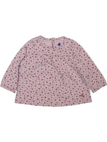 T-shirt manches longues fille PETIT BATEAU rose 6 mois hiver #1498929_1