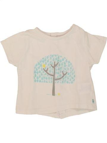 Camiseta de manga corta niña OKAIDI blanco 3 meses verano #1508131_1
