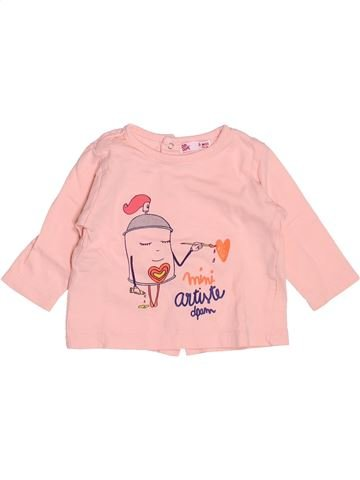 T-shirt manches longues fille DPAM rose 3 mois hiver #1509415_1