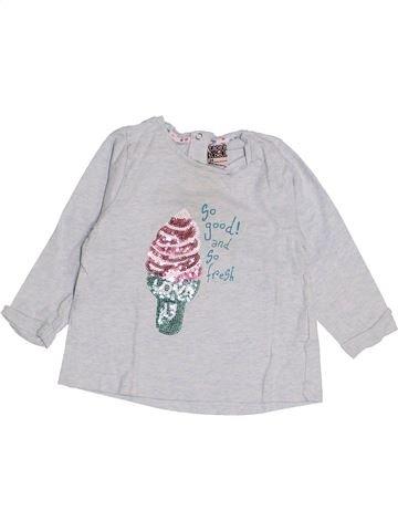 T-shirt manches longues fille TAPE À L'OEIL blanc 12 mois hiver #1512401_1
