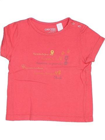 T-shirt manches courtes fille OKAIDI rose 6 mois été #1515981_1