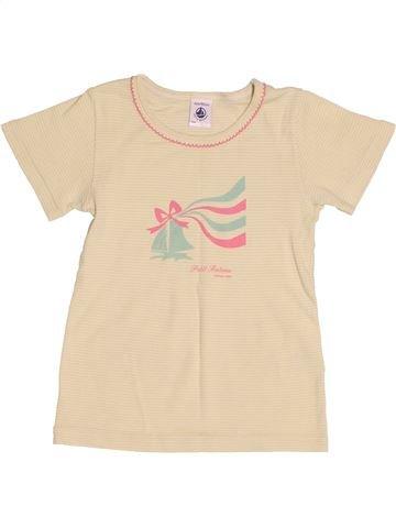 T-shirt manches courtes fille PETIT BATEAU beige 4 ans été #1524638_1