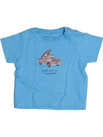 T-shirt manches courtes garçon GRAIN DE BLÉ bleu 12 mois été #1526941_1