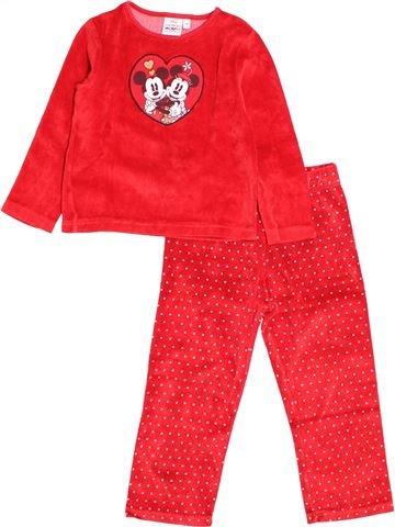 Pyjama 2 pièces fille DISNEY rouge 3 ans hiver #1527690_1