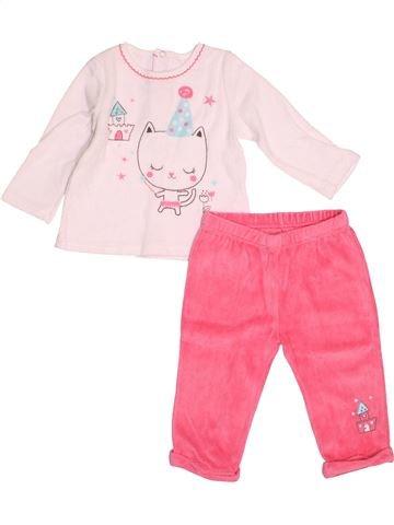 Pyjama 2 pièces fille PAT ET RIPATON rose 12 mois hiver #1528590_1
