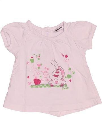 Camiseta de manga corta niña 3 POMMES rosa 6 meses verano #1536344_1