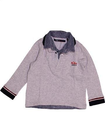 Polo manches longues garçon IKKS gris 3 ans hiver #1543754_1