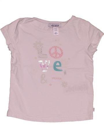 T-shirt manches courtes fille OKAIDI rose 2 ans été #1549234_1