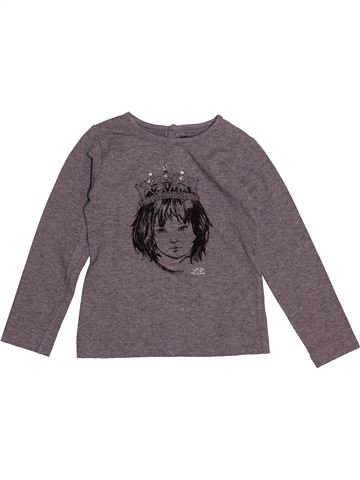 T-shirt manches longues fille LILI GAUFRETTE gris 4 ans hiver #1549622_1