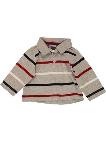 Polo manches longues garçon BABY gris 3 mois hiver #1559262_1